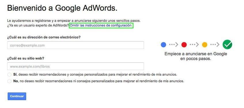 Instrucciones de configuración de Google Adwords