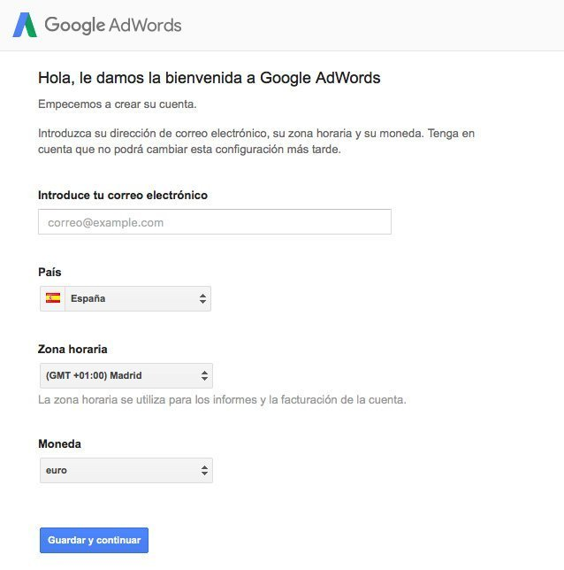 Introducir tus datos para Google Adwords