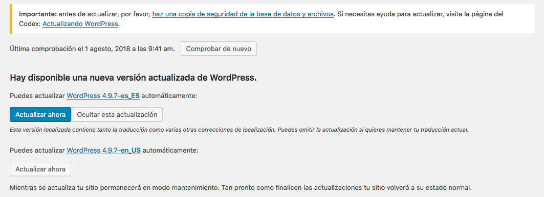 Actualizar wordpress paso 2