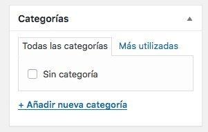 Categoria en entradas de WordPress