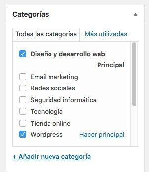 categorías de WordPress