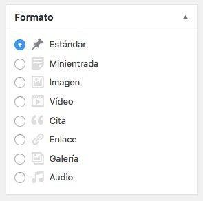 Formato de entradas de WordPress