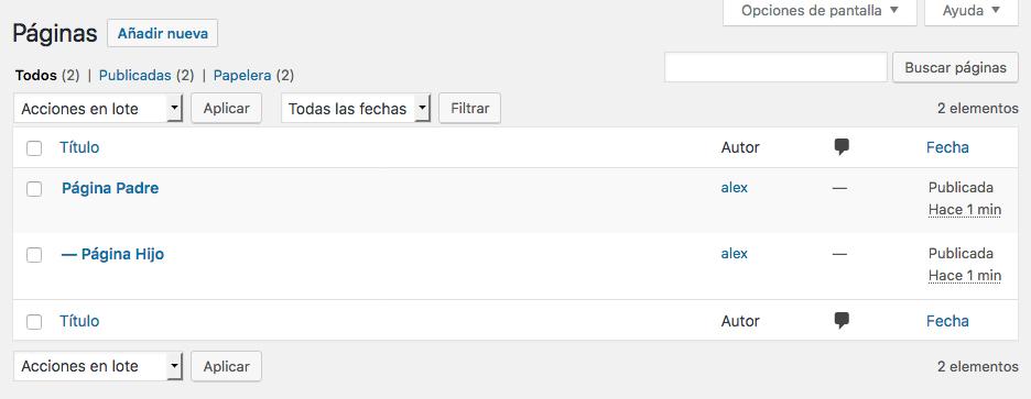 Jerarquía de las Páginas de WordPress