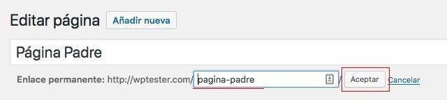 Slug de las páginas de WordPress