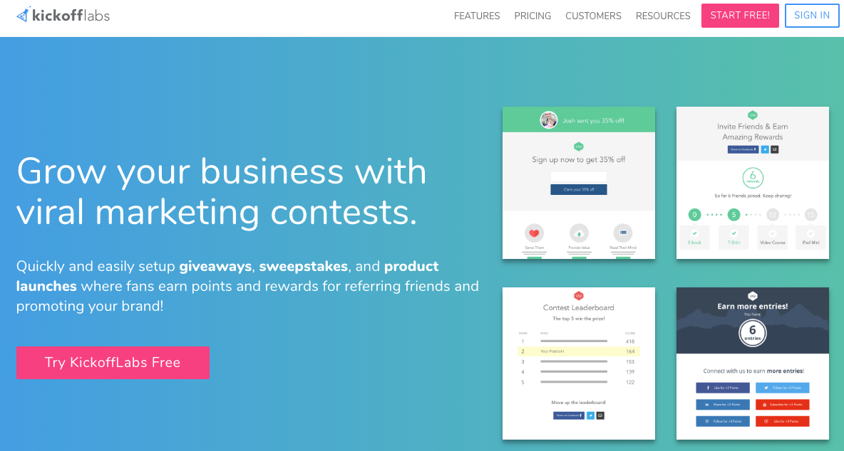 landing page con kickofflabs