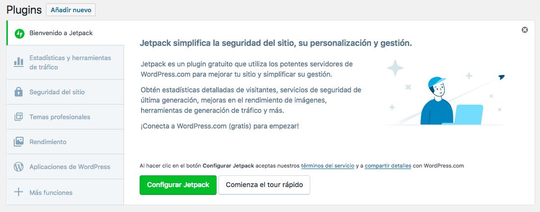 Mensaje de bienvenida JetPack