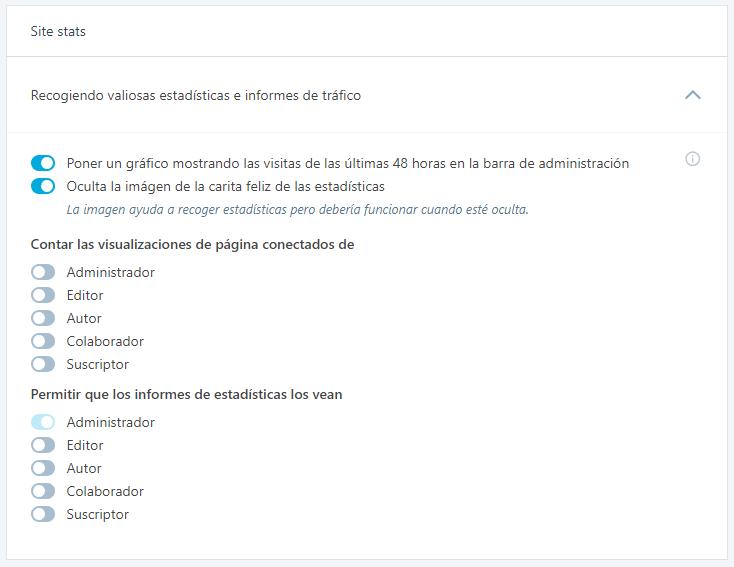 Opción: Site Stats