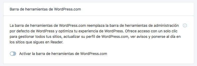 Opción: Barra de herramientas de WordPress.com