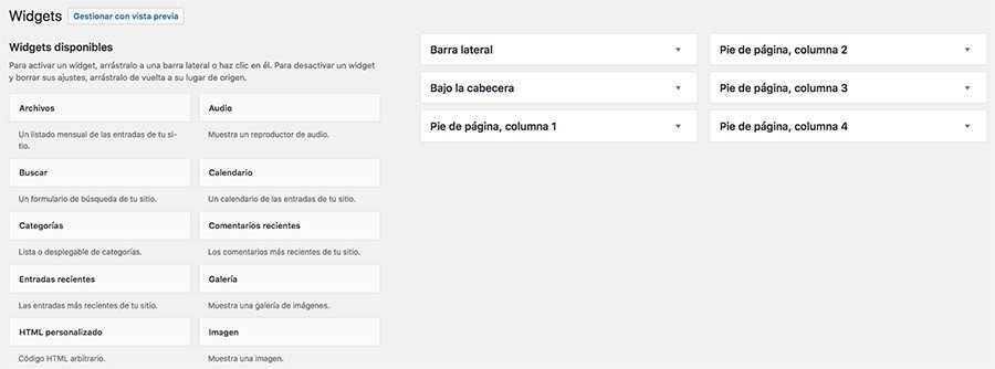 menu de widgets en wordpress