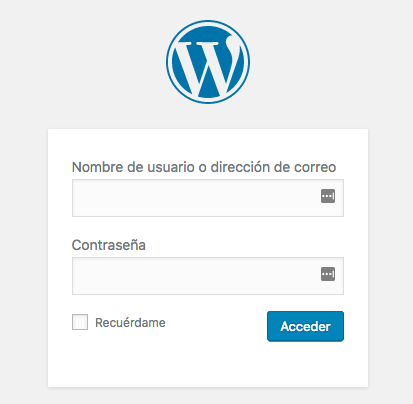 página de login de WordPress