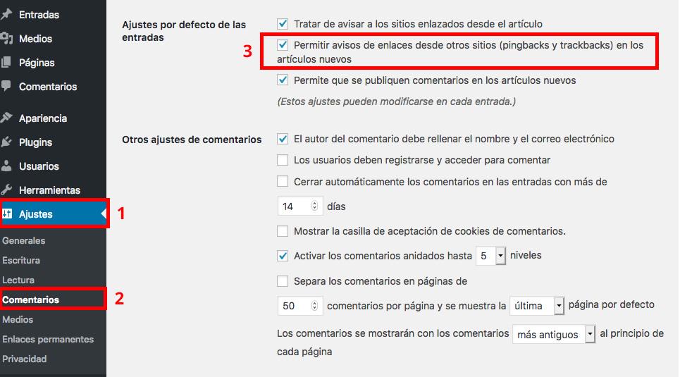 Activar/desactivar pingbacks y trackbacks en WordPress