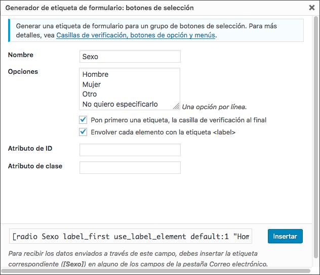 campos para un formulario en WordPress