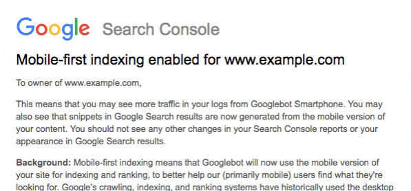 search console para Mobile First Index