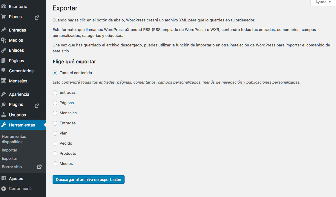 Exportar los datos de wordpress.com a wordpress.org