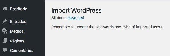 WordPress importado