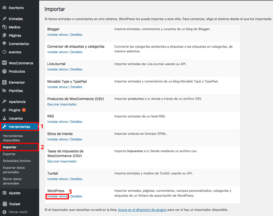 Importar contenido exportado de wordpress.com a wordpress.org
